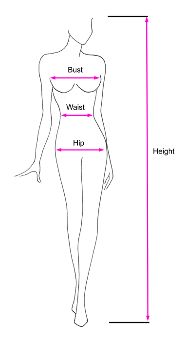 Standard Size Measurement Outline Diagram for Frenchmaids.nl